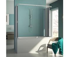 3-seitige Badewannenaufsatz Duschkabine in PVC 70x160x70 CM H150 mod. Muse