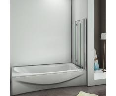 90x140cm Duschabtrennung Badewannenaufsatz Badewannenfaltwand Duschwand Badewanne 6mm Sicherheitsglas mit Nanobeschichtung