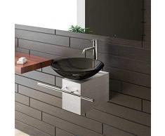 Alpenberger Aufsatzwaschbecken Schwarze Glaswaschschale Ø 46 cm mit Edelstahlkasten und Handtuchhalter