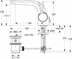 Ideal Standard A4260AA Waschtisch Armatur Melange verchromt mit Ablaufgarnitur Einhebelmischer