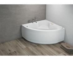 Komfortable Eck Badewanne-Acryl 120x120x57,5 inkl. Wannenfuß und Ablaufgarnitur, Schürze:ohne Schürze
