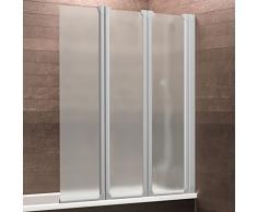 Schulte Badewannenaufsatz Duschabtrennung Badewanne Köln 3-teilig, 130x118 cm, Sicherheitsglas matt-sandgestrahlt, Profile alu-natur