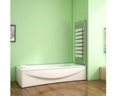 Aica Sanitär Badewannenaufsatz Duschabtrennung 120x140cm 2-teilig Faltbar Gestreifte Duschwand für Badewanne/Rechts