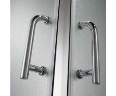 Eckeinstieg Duschkabine Runddusche 80x80 H200 Satiniert 5mm Glas Mod. Alabama