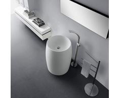 Lux-aqua Freistehendes Waschbecken Standwaschbecken Waschtisch Mineralguß weiß matt 45679, 560 x 560 x 810 mm