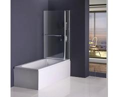 Badewannenfaltwand Duschabtrennung Badewannenaufsatz Duschwand 100x140cm (C2S-H)