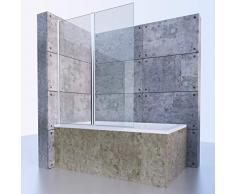 Badewannenfaltwand, Duschabtrennung, Badewanne Glaswand, Badewannenaufsatz, 2-teilig, Klarglas, ESG 6mm, 120x140cm