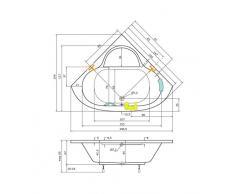 Badewanne 147x147 KASSANDRA - Acryl Eckwanne