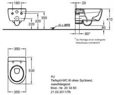 Keramag - 4U / iCon Wand-Tiefspül WC - ohne Spülrand, Keratect-Beschichtung - 203460600