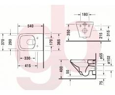 Duravit DuraStyle Wand-WC Rimless ohne Spülrand, Tiefspüler (ohne Deckel) 370 x 540mm, weiß 25380900