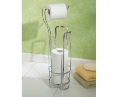 iDesign Klopapierhalter mit Ersatzrollenhalter, schmaler & freistehender Toilettenpapierständer aus Metall, Toilettenpapierhalter stehend für 4 Rollen, silberfarben