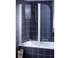 Schulte D1653 Badewannenfaltwand Badewannenaufsatz 2-tlg. 1150x1400, Echtglas klar, Profilfarbe alunatur
