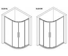 Duschkabine 120x90 LINKS, Runddusche 1200x900x2000 mm (LxBxH), Dusche rund 120x90 cm, 4-teilig, ESG 8/6 mm, Schiebetüren