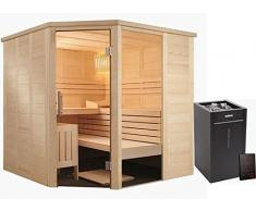 Sauna Massivholz Glaselement 5-Eck Harvia Virta Combi Saunaofen HL90S Xenio Steuergerät CX110C