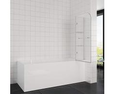 Elegant 100x140 cm Badewannenaufsatz Duschabtrennung, 2-teilig faltbar Duschwand für Badewanne mit Handtuchhalter
