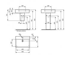 Ideal Standard Connect Cube Waschtisch weiß; mit 1 Hahnloch, mit Überlauf; 60