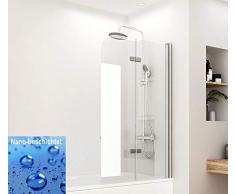 Meykoers Duschwand Badewannenaufsatz 110x140cm Faltwand für Badewanne, Duschabtrennung faltbar aus 6mm ESG Sicherheitsglas Nano Beschichtet