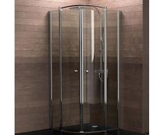 Schulte Duschkabine Runddusche 90x90 cm Viertelkreis Radius 500 6mm Glas mit Glasversiegelung chrom Livenza, 1 Stück, chromoptik, 4056397002765