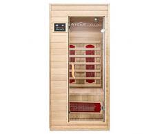 Home Deluxe – Infrarotkabine – Redsun S – Keramikstrahler – Holz: Hemlocktanne - Maße: 90 x 90 x 190 cm – inkl. vielen Extras und komplettem Zubehör