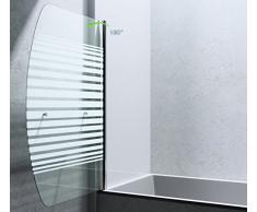 BxH: 90x140 cm Design Duschabtrennung/Duschwand für Ihre Badewanne Cortona112S,Badewannenaufsatz, 6mm ESG-Sicherheitsglas teilsatiniert, inkl. Nano-Beschichtung