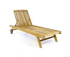 Divero Sonnenliege Gartenliege Relaxliege Liege Holzliege Teak Holz für Garten Terrasse Balkon Sauna witterungsbeständig massiv Natur behandelt (wählbar) (Teak Natur)