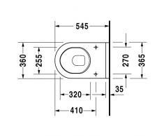 Duravit Wand WC (ohne Deckel) Starck 3 54cm Tiefspüler, für Abstand 23cm weiß 2206090000