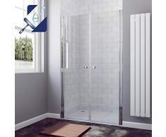 AQUABATOS® 110x195 cm Duschabtrennung Duschtür Nischentür Pendeltür Duschwand Schwingtür aus 6 mm ESG Glas mit Nano Beschichtung