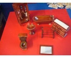 Dolls House Puppenhausmöbel, Badezimmer aus Holz,7 Teile,mit Runddusche und Spiegel,in weiß oder braun. Bitte bei Bestellung die Farbe angeben