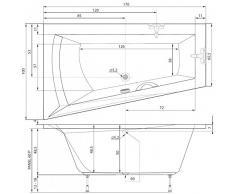Badewanne 170x100 cm Wanne 170 Raumsparwanne 100x170 Eckwanne Variante Links