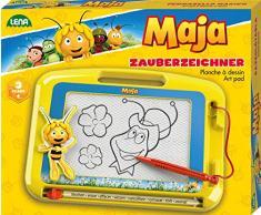 Lena 65687 Zauberzeichner, Zaubertafel mit Biene Maja Motiv, Magnetmaltafel für Kinder ab 3 Jahre, Zaubermaltafel mit Stift und Schieber, Magnettafel zum Bemalen, gelb, ca. 22 x 17 x 2 cm