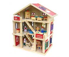 Gigantisches Puppenhaus Holz 54x37x69cm mit Möbel und Puppen