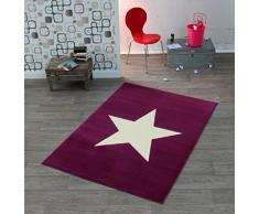 Hochwertiger Teppich Sternteppich / Teppich / Stern Teppich / hochwertiger Jugendteppich - Teppich - Wohnzimmerteppich - Wohnzimmer Teppich - Läufer - 140 x 200 cm - Stern - Stars - lila - - beiger Stern - Dieses Highlight der