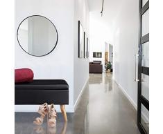 Relaxdays Sitzbank mit Stauraum, 40 L, gepolstert, Holzbeine, Truhenbank Kunstleder, HxBxT: 40 x 80 x 39,5 cm, schwarz