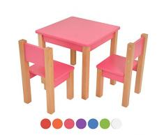 XXL Discount kindertisch mit stühle - 3 TLG. Set: Sitzgruppe für Kinder - aus Buche und MDF Holz - Tisch + 2 Stühle/Kindermöbel für Jungen & Mädchen Kindersitzgruppe (Rosa, Kindertisch mit 2 stühle)