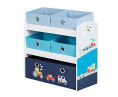 roba Spielregal Rennfahrer, Spielzeug- & Aufbewahrungs-Regal fürs Kinderzimmer, inkl. 5 Stoffboxen m, Auto blau