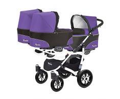 Kinderwagen für Drillinge 3 Gondeln 3 Sportsitze Trippy Kinderwagen 2in1 weißer Rahmen (schwarz lila 05)
