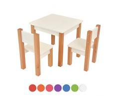 Kindertisch mit 2 stühle - 3 tlg. Set: Sitzgruppe für Kinder - aus Buche und MDF Holz - Tisch + 2 Stühle/Kindermöbel für Jungen & Mädchen Kindersitzgruppe (Weiß, Kindertisch mit 2 stühle)