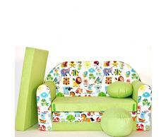 millybo Kindersofa Couch Kindercouch Spielsofa 3in1 Kinder Sofa Minisofa grün (MI-Z5)