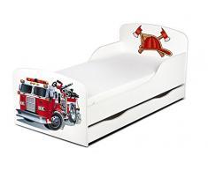 Leomark Kinderbett mit Schublade Matratze Funktionsbett Einzelbett Liegefläche140x70 Sehr Einfache Montage, Bettkasten Motiv: Feuerwehr