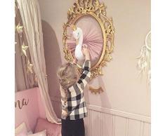 Odster – Cute Love 3D Golden Crown Plüsch Schwan Wand Kunst Hängen Schwan Plüsch Puppe Stofftier Tier Kopf Wand Deko für Kinder Mädchen Zimmer