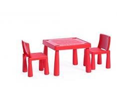Sitzgruppe 1xTisch 2x Stühle robust Kindermöbel Set Sitzgarnitur Set Kinder Rot