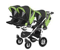 Kinderwagen für Drillinge Säugling und ältere Zwillinge 1 Gondel 3 Sportsitze Trippy Kinderwagen 2in1 weißer Rahmen (schwarz grün 06)