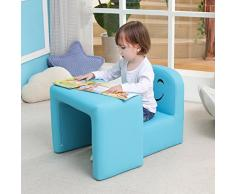 Multifunktionaler Kinder Sessel, Mode Life Kids Set Stuhl und Tisch/Hocker mit Funny Smile Face für Jungen und Mädchen (Blau)