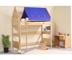 TAUBE Kinderbett Hochbett Ritter 182 cm mit Bettdach (Ausführung: 90x190cm, Buche-geölt, Ausstattung: mit Leiter)