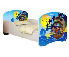 Clamaro Kinderbett Dream´n Play inkl. Matratze, Lattenrost und schützenden Seitenteilen, Jugendbett mit ABS Schutzkanten - 140x70 cm, Design: 21 - Piraten Motiv