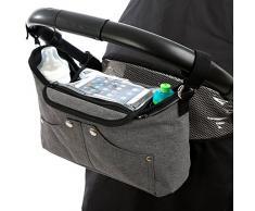 """BTR """"Tootles"""" graue Kinderwagen Organizer Tasche mit Smartphone-Halter, Buggy Organizer mit exklusiver klappbarer Handy-Tasche. PLUS 2 Kinderwagen Clips. Grau"""