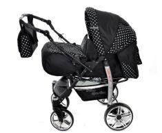 Baby Sportive X2, 3 in 1 Kombikinderwagen set - incl. Kinderwagen mit Zubehör, Babyschale und Sportwagen Aufsatz. System mit Schwenkräder. Reisesystem Farbe: Schwarz und Blumen