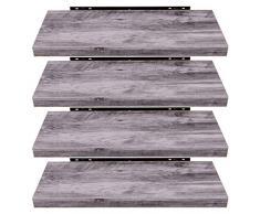 EUGAD 0136QJ-4 Wandregal Wandboard 4er Set Hängeregal Holz Board Modern Grau Holzdeko 100x22,9x3,8cm
