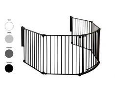 Impag Kaminschutzgitter Absperrgitter Raumteiler Laufgitter mit Tür 6 Größen 3 tlg. - 7 tlg. 190 - 490 cm 3 schwarz