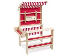 Howa super Kaufladen aus Holz Natur / rot mit Markise